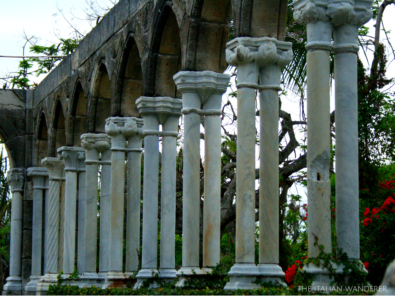 Details of the colonnades of the French Cloister at Paradise Island