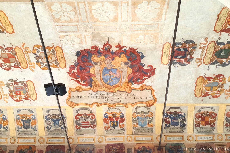 Padua, Palazzo Bo, symbols of the students' families of the past