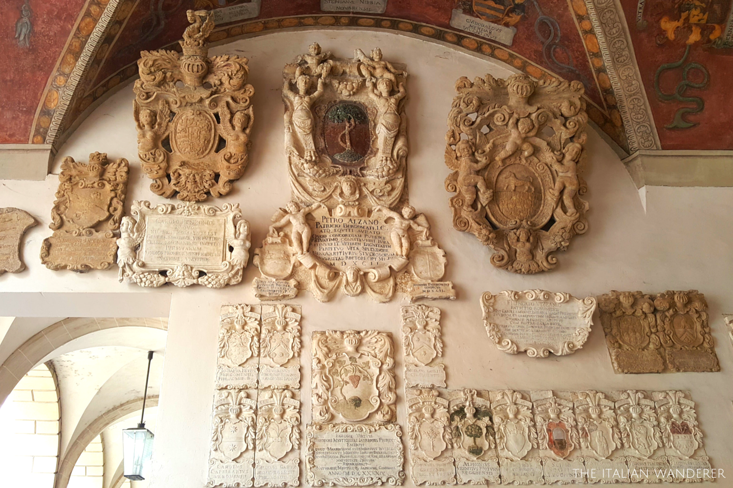 Padua, Palazzo Bo, symbols of the families of the students that attended the university in past times.