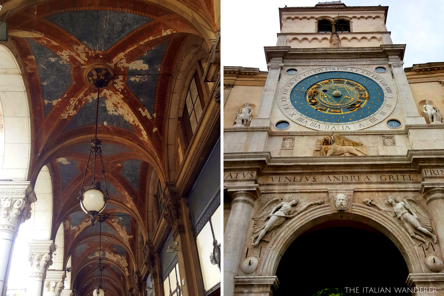 The Astronomic Clock Tower in Padua and some random painted colonnade