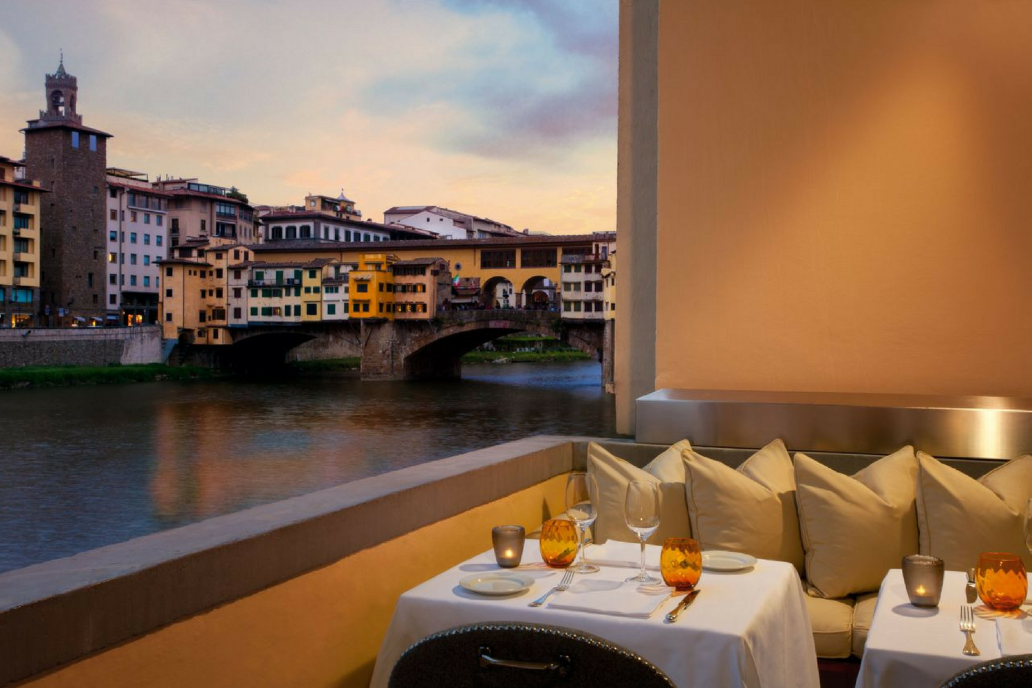 Private terrace at Hotel Lungarno's restaurant Borgo San Jacopo, Florence