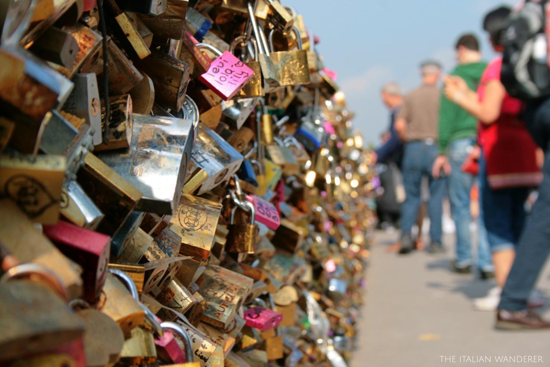 Love locks on a Parisian bridge