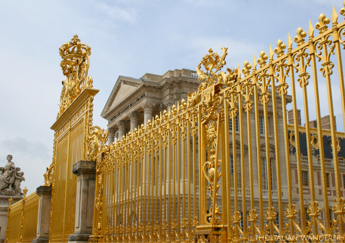 The golden front and main gate of Versailles